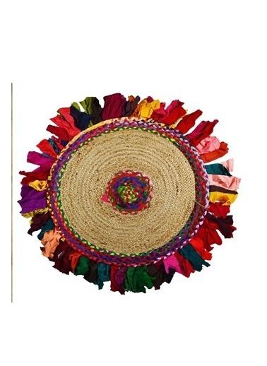 Giz Home Bolero Jüt Örgü Halı 90X90 Y4-232 Yuvarlak Püsküllü Renkli